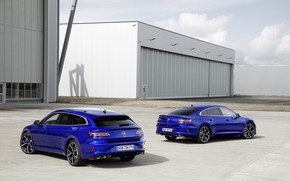 Picture Volkswagen, blue, universal, Shooting Brake, hangars, liftback, 2020, Arteon, Shooting Brake R, Arteon R