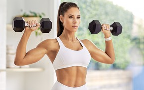Picture look, pose, figure, fitness, pose, training, dumbbells, workout, gym, fitness, gym, dumbbells, gym, Kelsey Wells