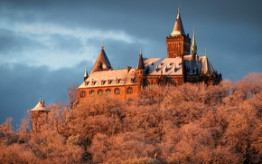 Picture winter, frost, the sky, clouds, trees, nature, castle, roof, tower, architecture, history, medieval, vintage, hill