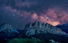 Picture the sky, landscape, mountains, night, nature, stars, the milky way, Adygea, Big Thach, Western Caucasus