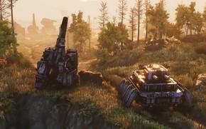 Picture forest, gun, robots, Iron Harvest