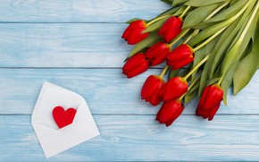 Picture love, bouquet, hearts, tulips, red, red, love, wood, flowers, romantic, hearts, tulips, valentine's day