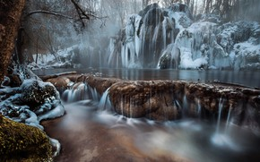 Picture winter, water, trees, nature, river, stones, ice, icicles, frost, Robert Didierjean