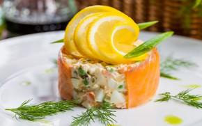 Picture lemon, salad, salmon, Olivier