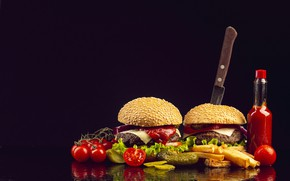 Picture photo, Bottle, Hamburger, Knife, Tomatoes, Food, Buns, Fast food, French fries