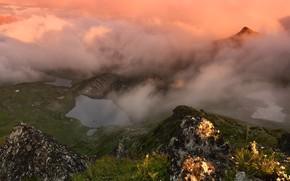 Picture mountains, fog, lake, Russia, Karachay-Cherkessia, photographer Maxim Evdokimov