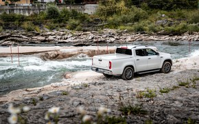 Picture white, river, stones, Mercedes-Benz, pickup, 2018, on the shore, X-Class
