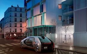 Picture machine, street, the evening, Renault, electric cars, Renault EZ-GO