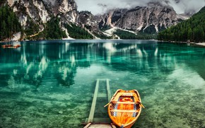 Picture clouds, landscape, mountains, nature, lake, boats, Alps, Italy, forest, Braies, Alexandr Bezmolitvenny