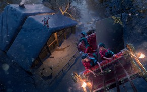Picture Winter, Night, Snow, New Year, House, Elves, Roof, House, Holiday, Santa Claus, Art, Night, Snow, …