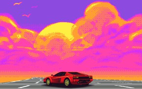 Picture Auto, Music, Retro, Machine, Style, Ferrari, Music, Style, Supercar, Pixel, Pixel, Illustration, Testarossa, 80's, Synth, …