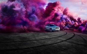 Picture transport, smoke, trail, car, LINCOLN AVIATOR