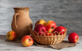 Picture apples, pitcher, still life