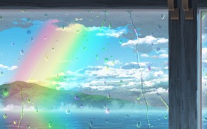 Picture sea, drops, rainbow, window, after the rain