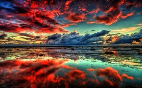 Picture WATER, HORIZON, The SKY, CLOUDS, REFLECTION, SURFACE, SUNSET, CLOUDS, MIRROR, DAL