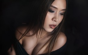 Picture chest, girl, face, hair, portrait, neckline, shoulders, the dark background, Alexander Drobkov-Dark, Саяна Тосина