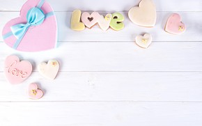 Picture box, gift, heart, love, heart, pink, romantic, cookies, gift box