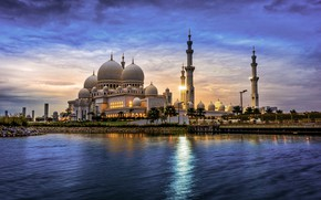 Picture water, the city, the evening, tower, mosque, architecture, UAE, dome, The Sheikh Zayed Grand mosque, …