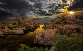 Picture the sky, the sun, rays, clouds, river, stones, USA, the bushes, Arizona