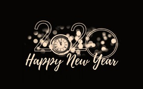 Picture alarm clock, happy new year, Happy New Year!, 2020