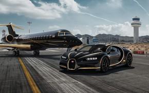 Wallpaper rendering, Bugatti, supercar, Private Jet, Chiron