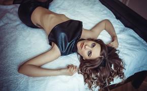 Picture look, girl, pose, bed, brown hair, top, Cserfalvi Zoltán