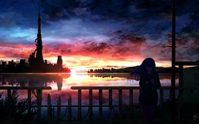 Picture water, girl, sunset, the city, phone
