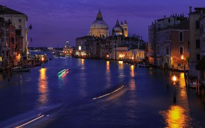 Picture night, the city, building, home, lighting, lights, Italy, Venice, Cathedral, channel, dome, Santa Maria della …