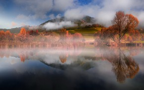 Picture autumn, forest, the sky, clouds, trees, mountains, nature, fog, lake, reflection, blue, mood, hills, branch, …