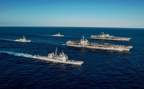 Picture sea, ships, army