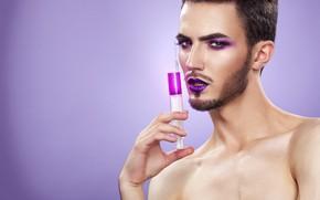 Picture look, make up, syringe