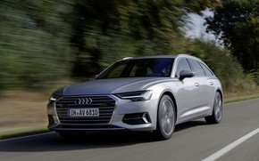 Picture Audi, speed, 2018, universal, gray-silver, A6 Avant