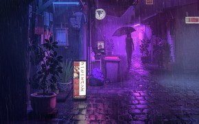 Picture Night, People, Street, Rain, Umbrella, Art, The shower, Lane, by beeple, beeple, PURPLE RAIN