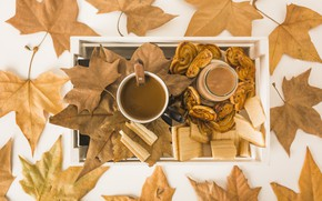 Picture autumn, leaves, background, tree, coffee, colorful, cookies, Cup, wood, waffles, background, autumn, leaves, cup, coffee, …