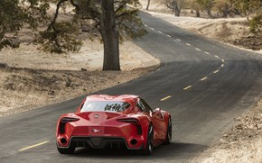 Picture red, coupe, turn, back, Toyota, 2014, FT-1 Concept