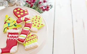 Picture winter, holiday, Board, cookies, plate, Christmas, New year, socks, herringbone, light background, figures, dessert, cakes, …