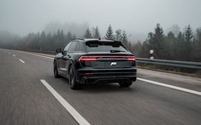 Picture road, fog, overcast, Audi, speed, TDI, rear view, crossover, ABBOT, 2019, SQ8