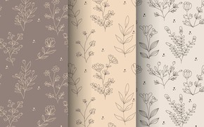 Picture flowers, background, pattern, brown, beige, pattern, seamless, seamless