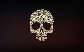 Wallpaper Minimalism, Skull, Style, Background, Calavera, Day of the Dead, Day of the Dead, Sugar Skull, ...