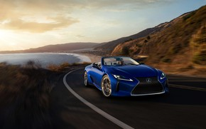 Picture road, coast, Lexus, convertible, 2021, LC 500 Convertible
