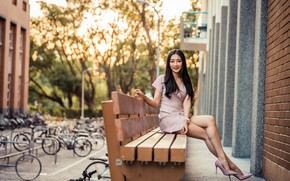 Picture look, smile, dress, brunette, Asian, bench, bokeh, beautiful legs