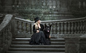 Picture background, woman, dog