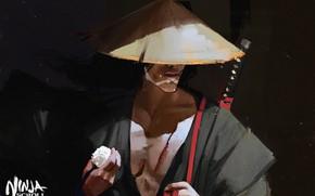 Picture katana, samurai, figure, Japanese clothing, art, arm, straw hat, Maciej Kuciara, Jubei, Manuscript ninja, Ninja …