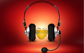 Picture music, sound, heart, headphone