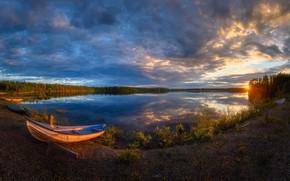 Picture sunset, boat, In Kuusamo, Käylä sunset