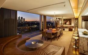 Picture interior, kitchen, megapolis, living room, Suite, modern, dining room