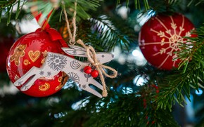 Picture balls, branches, deer, Christmas, red, New year, tree, needles, Christmas toy