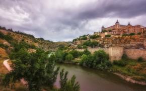 Wallpaper Spain, river, castle, Toledo