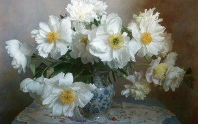Picture flowers, vase, table, napkin, peonies