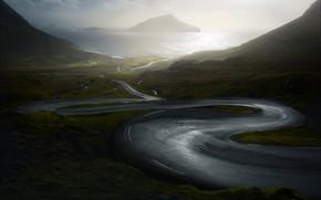 Picture road, sea, shore